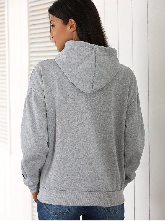 Letter Pocket Long Sleeve Fleece Hoodie - GRAY ONE SIZE Mobile