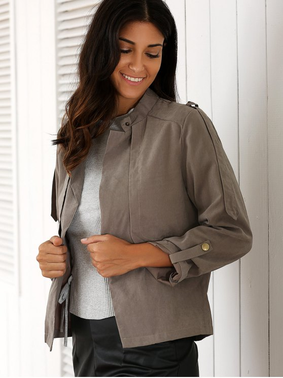 Gray Stand Neck Long Sleeve Trench Coat - GRAY L Mobile