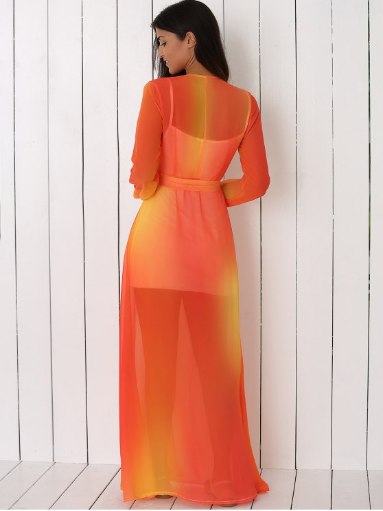 Hit Color Plunging Neck Chiffon Maxi Dress - SWEET ORANGE XL Mobile