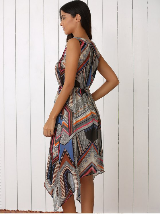 Retro Geometric Print V-Neck Waisted Dress - COLORMIX L Mobile