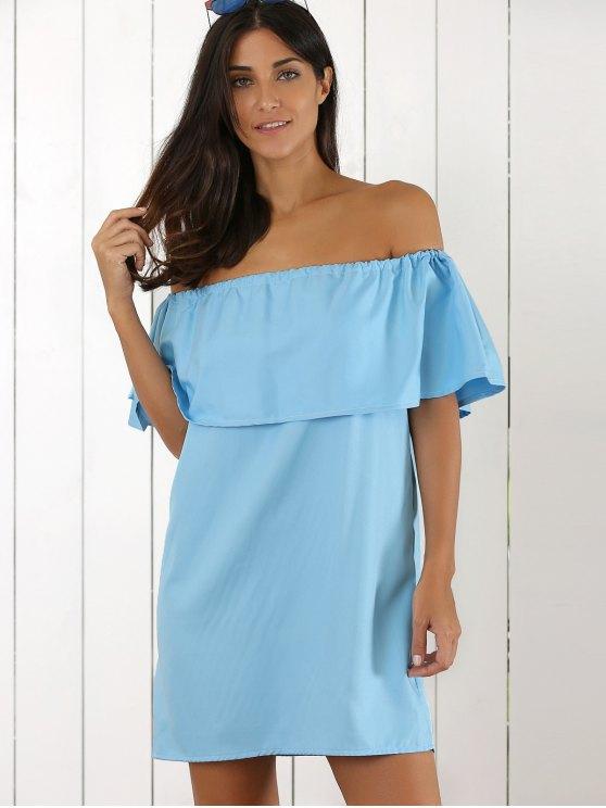 Ruffles Off The Shoulder Mini Dress - AZURE ONE SIZE Mobile