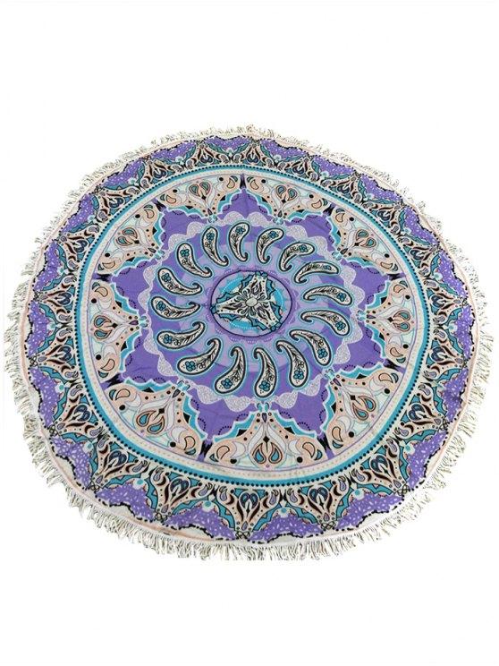 Bohemia con flecos Círculo de impresión étnico tapa hacia arriba - Púrpura Única Talla