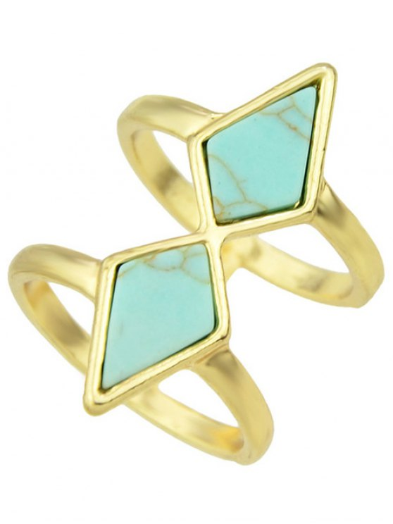 Multilayered Faux Rammel Geometric Ring - BLUE ONE-SIZE Mobile
