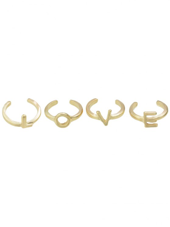 womens Letters Love Adorn Rings - GOLDEN ONE-SIZE