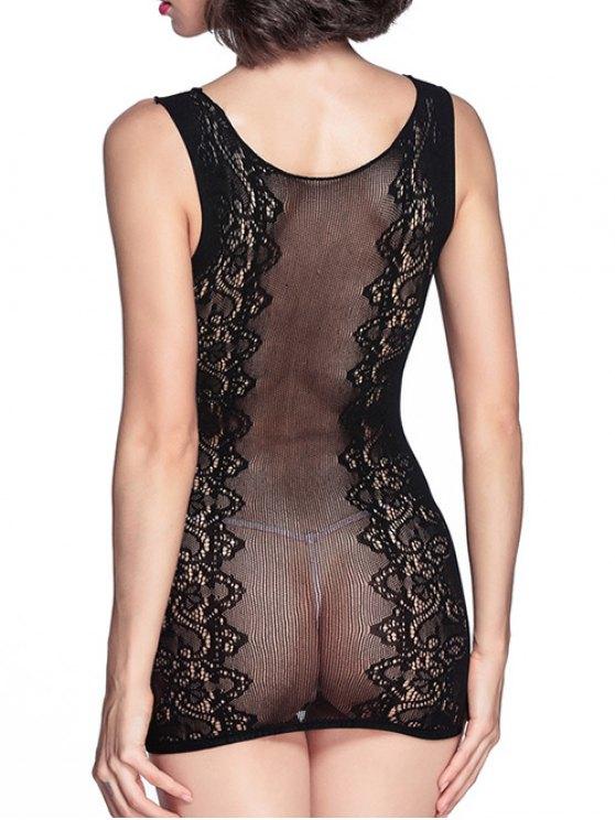 See-Through Cut Work Round Neck Sleeveless Dress - BLACK ONE SIZE Mobile