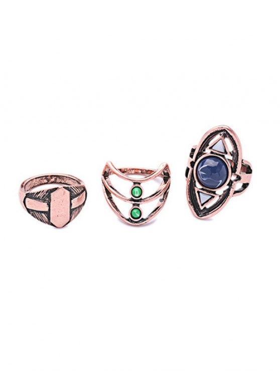 shop Etched Geometric Ring Set - ROSE GOLD