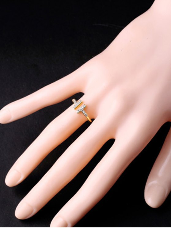 Mini Rhinestone Cut Out Ring - GOLDEN  Mobile