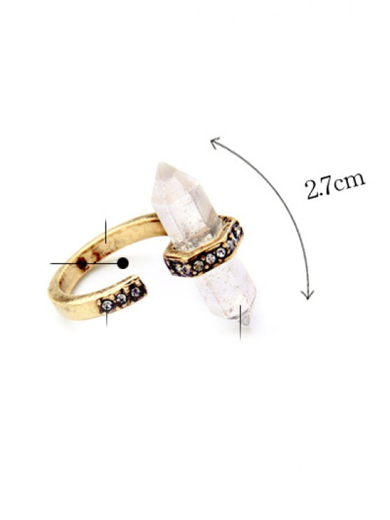 Rhinestone Etched Natural Stone Ring - GOLDEN  Mobile