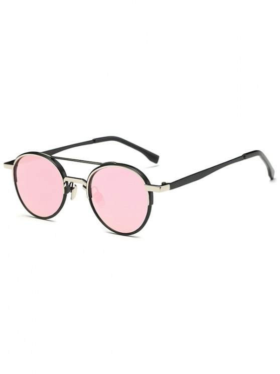 Metal Crossbar Mirrored Oval Sunglasses - PINK  Mobile