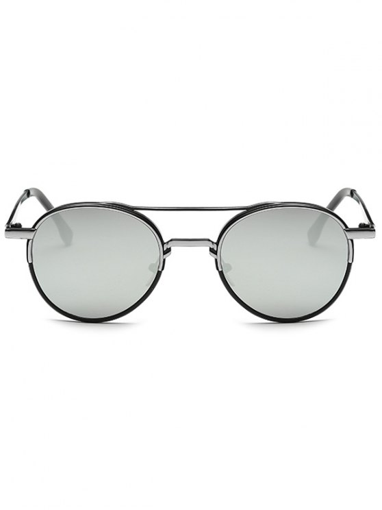 Metal Crossbar Mirrored Oval Sunglasses - SILVER  Mobile