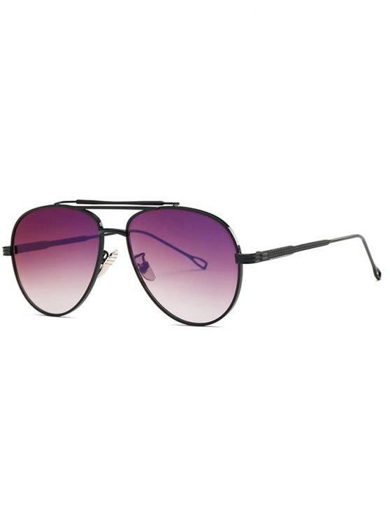 lady Ombre Lens Crossbar Pilot Sunglasses - BLACK