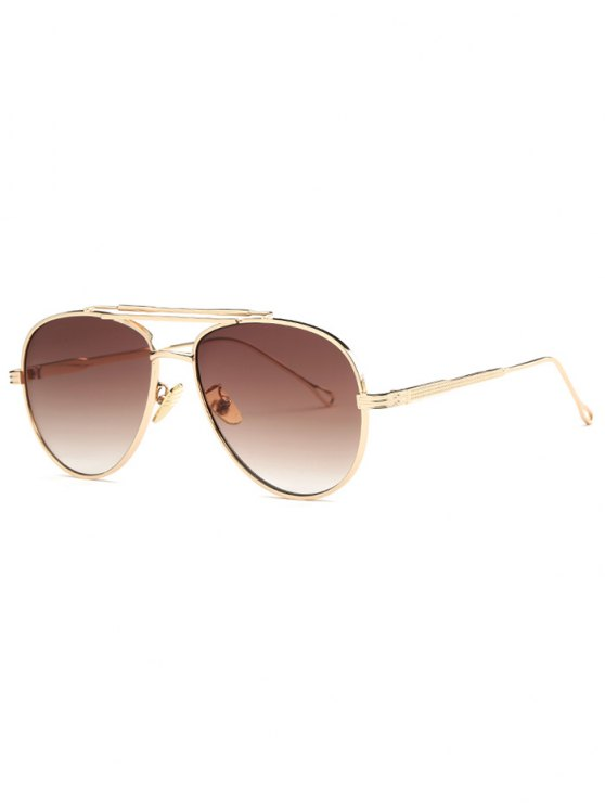 best Ombre Lens Crossbar Pilot Sunglasses - GOLDEN
