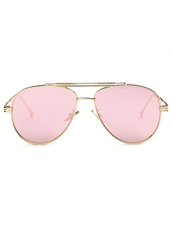 Ombre Lens Crossbar Mirrored Pilot Sunglasses - PINK  Mobile