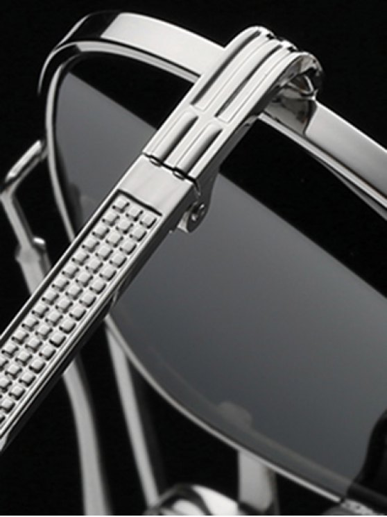 Ombre Lens Crossbar Mirrored Pilot Sunglasses - SILVER  Mobile