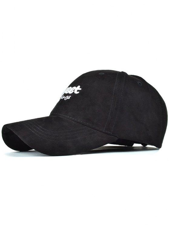 lady Letters Faux Suede Baseball Hat - BLACK