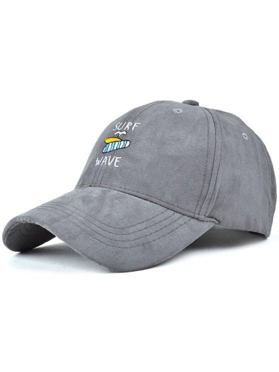 latest Surfboard Faux Suede Baseball Hat - GRAY