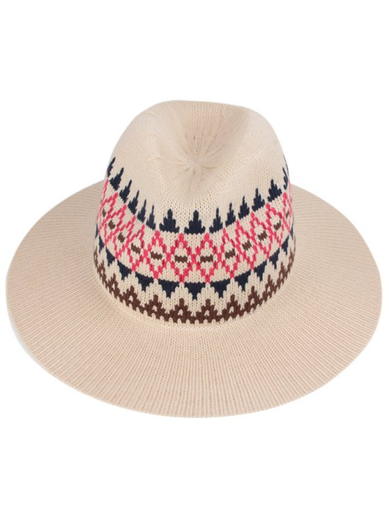 fashion Geometry Knitted Jazz Hat - OFF-WHITE