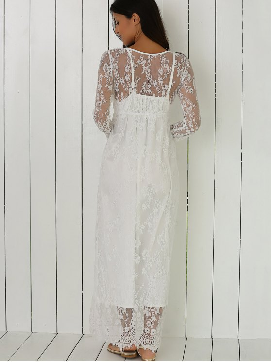 See-Through Lace Dress With Sleeves - WHITE M Mobile