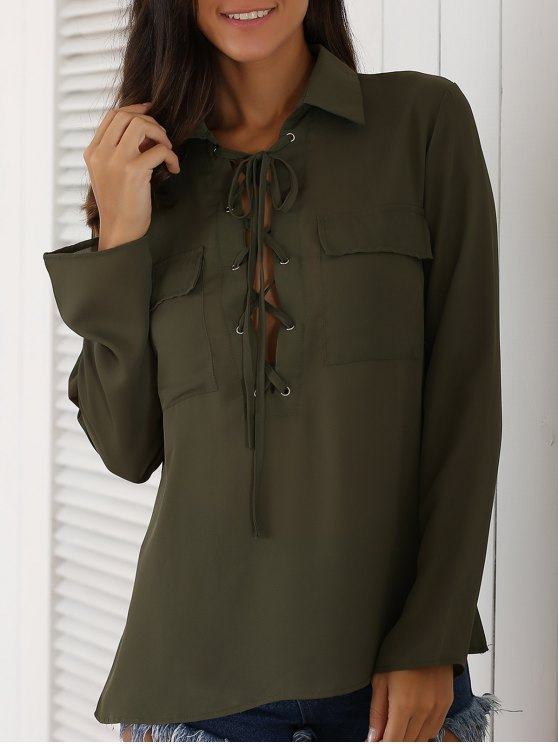 shop Lace-Up Turn Down Collar Long Sleeves Shirt - ARMY GREEN XL