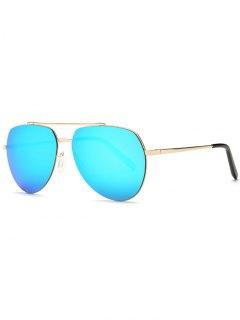 Lightweight Mirrored Pilot Sunglasses - Light Blue