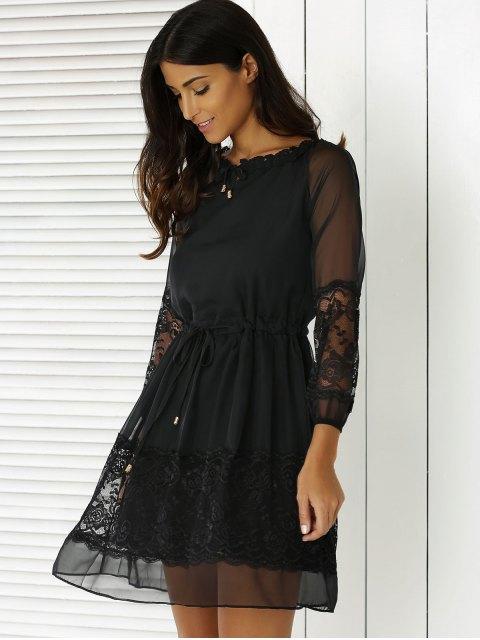 unique Lace Splicing 3/4 Sleeve Black Dress - BLACK L Mobile