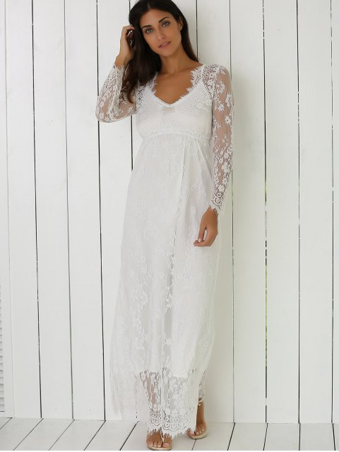 womens See-Through Lace Dress With Sleeves - WHITE L Mobile