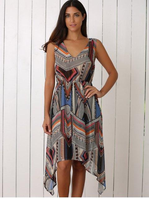fashion Retro Geometric Print V-Neck Waisted Dress - COLORMIX XL Mobile