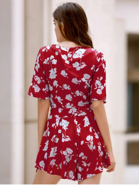 new Floral Plunging Neckline Surplice Romper - RED M Mobile