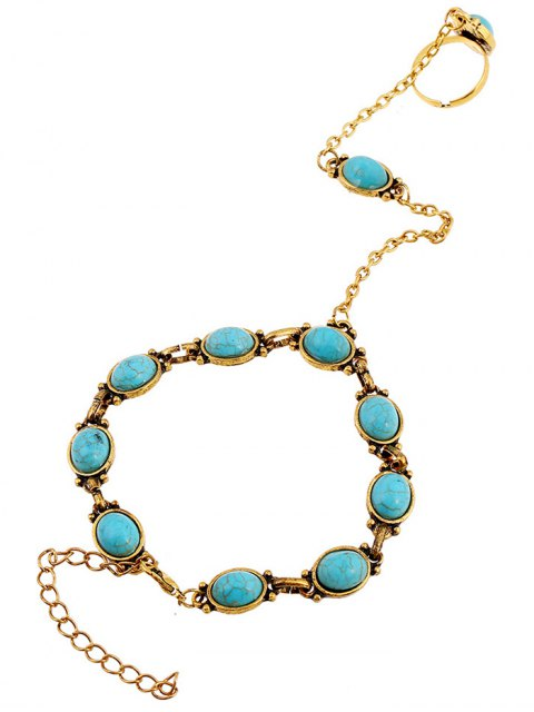 fancy Faux Turquoise Bracelet with Ring -   Mobile