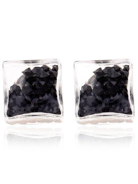 shop Square Rhinestone Stud Earrings - BLACK  Mobile