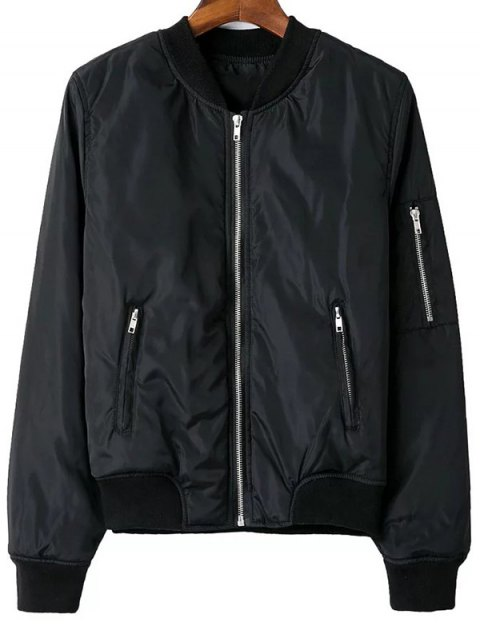 chic Zip Pocket Sport Jacket - BLACK L Mobile