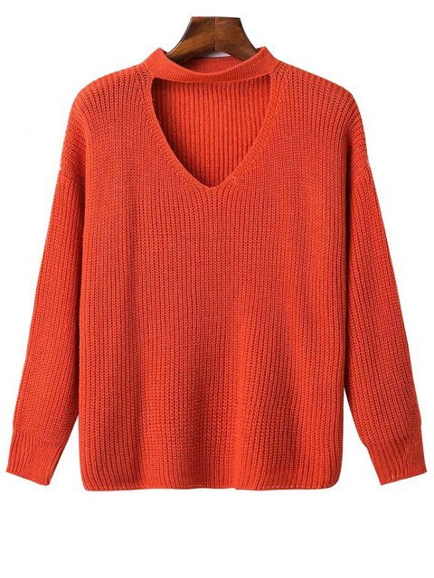 outfits Oversized Drop Shoulder Choker Sweater - JACINTH ONE SIZE Mobile