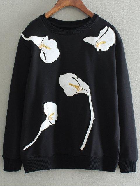 sale Patched Sweatshirt - BLACK S Mobile
