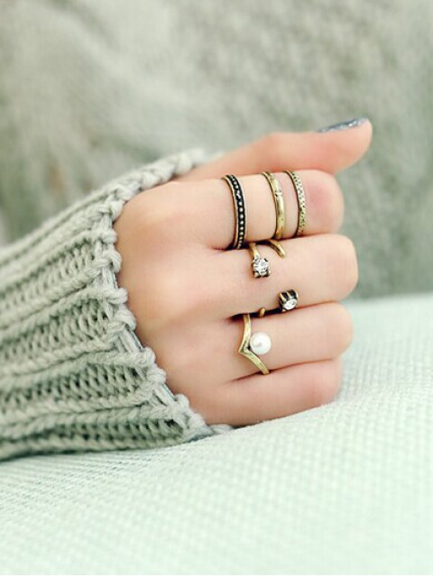 online Rhinestone Caged Rings - GOLDEN  Mobile