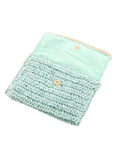new Weaving Straw Chain-Trimmed Clutch Bag - LIGHT BLUE  Mobile
