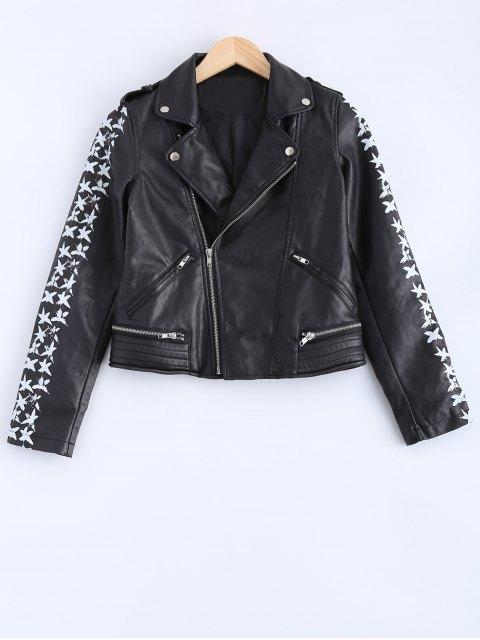 shop Lapel Collar Letter Print PU Leather Jacket - BLACK S Mobile