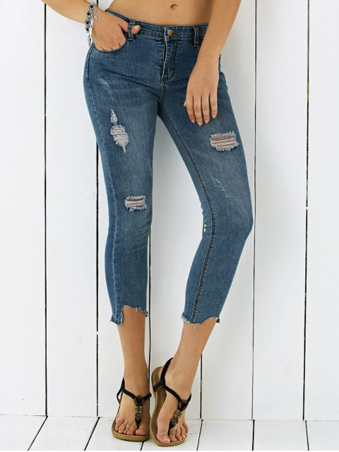 chic Slimming Pockets Bleach Wash Ripped Jeans - DENIM BLUE M Mobile