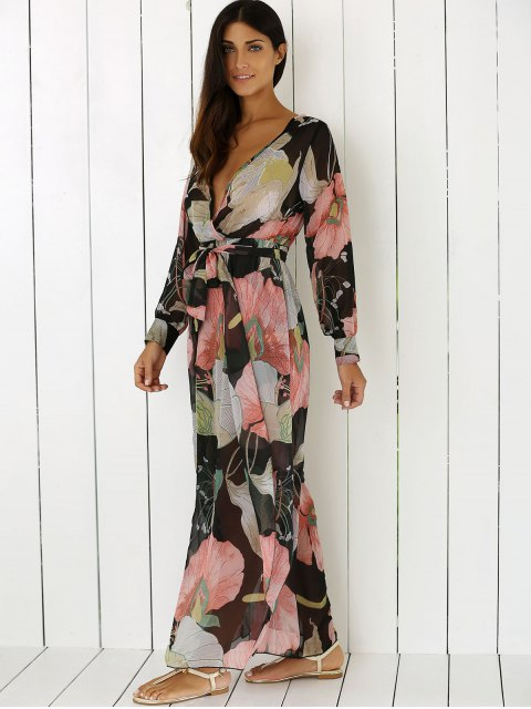 unique Boho Floral Long Sleeve Surplice Dress - COLORMIX L Mobile