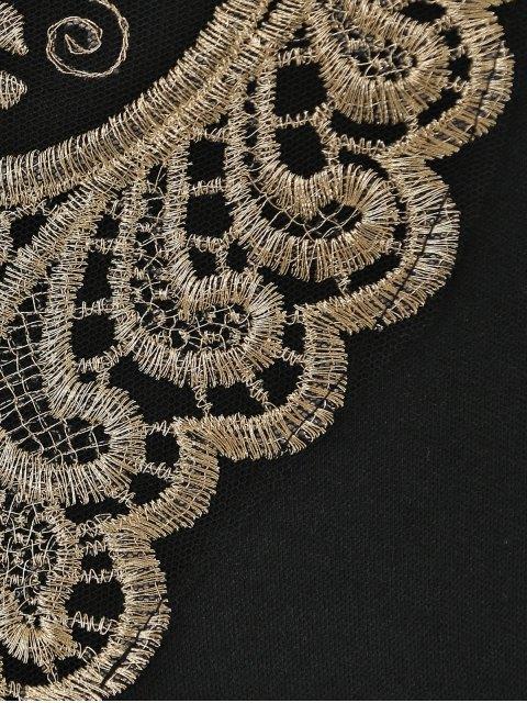 women's Lace Splice V-Neck Sleeveless Black Dress - BLACK S Mobile