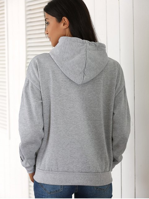 shop Letter Pocket Long Sleeve Fleece Hoodie - GRAY ONE SIZE Mobile