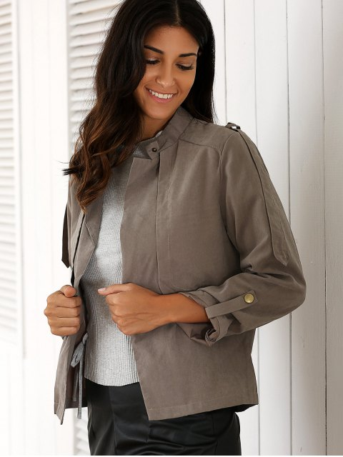 new Gray Stand Neck Long Sleeve Trench Coat - GRAY S Mobile