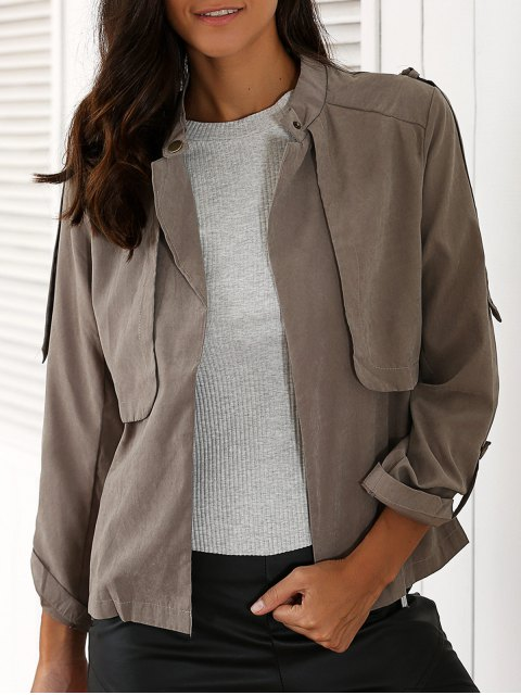 online Gray Stand Neck Long Sleeve Trench Coat - GRAY M Mobile