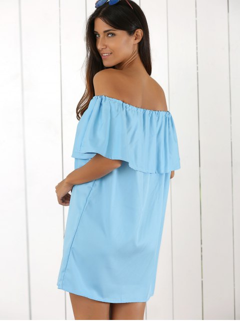 chic Ruffles Off The Shoulder Mini Dress - AZURE ONE SIZE Mobile