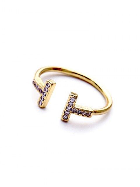 trendy Mini Rhinestone Cut Out Ring - GOLDEN  Mobile