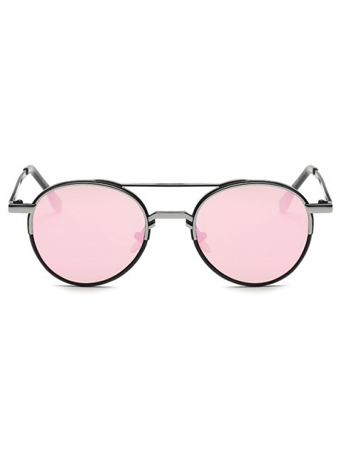 buy Metal Crossbar Mirrored Oval Sunglasses - PINK  Mobile