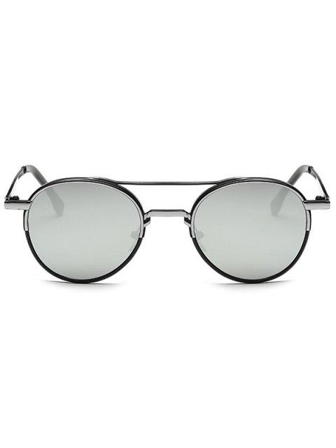 women Metal Crossbar Mirrored Oval Sunglasses - SILVER  Mobile