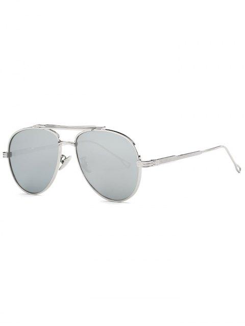 hot Ombre Lens Crossbar Mirrored Pilot Sunglasses - SILVER  Mobile