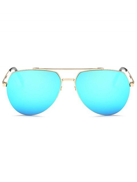 latest Lightweight Mirrored Pilot Sunglasses - LIGHT BLUE  Mobile