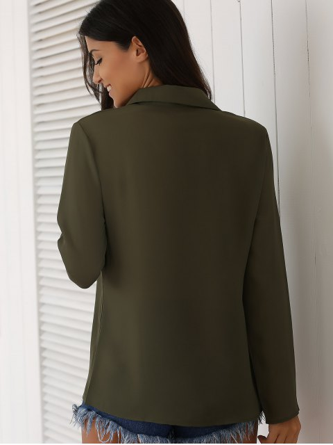 shop Lace-Up Turn Down Collar Long Sleeves Shirt - ARMY GREEN XL Mobile