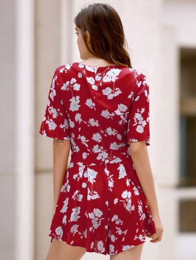 Floral Plunging Neckline Surplice Romper - RED S Mobile